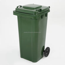 Mobile heavy duty hdpe outdoor garbage trash bin 120 liter plastic rubbish bins with wheels