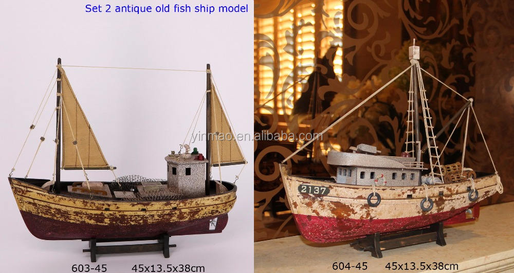 Antique Red wooden fishing boat model, 2 sets, 45X14X38cm, fish factory vessel hand craft model