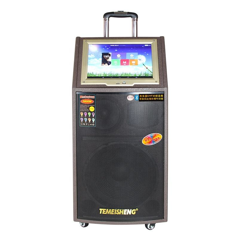 Temeisheng 10 inch professional dj trolley MP5 speaker with LCD
