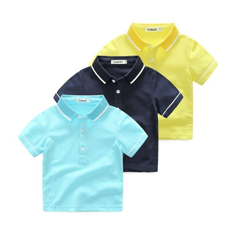 Children Boy 100% Cotton Wear Short Sleeve Polo Shirt For Kids