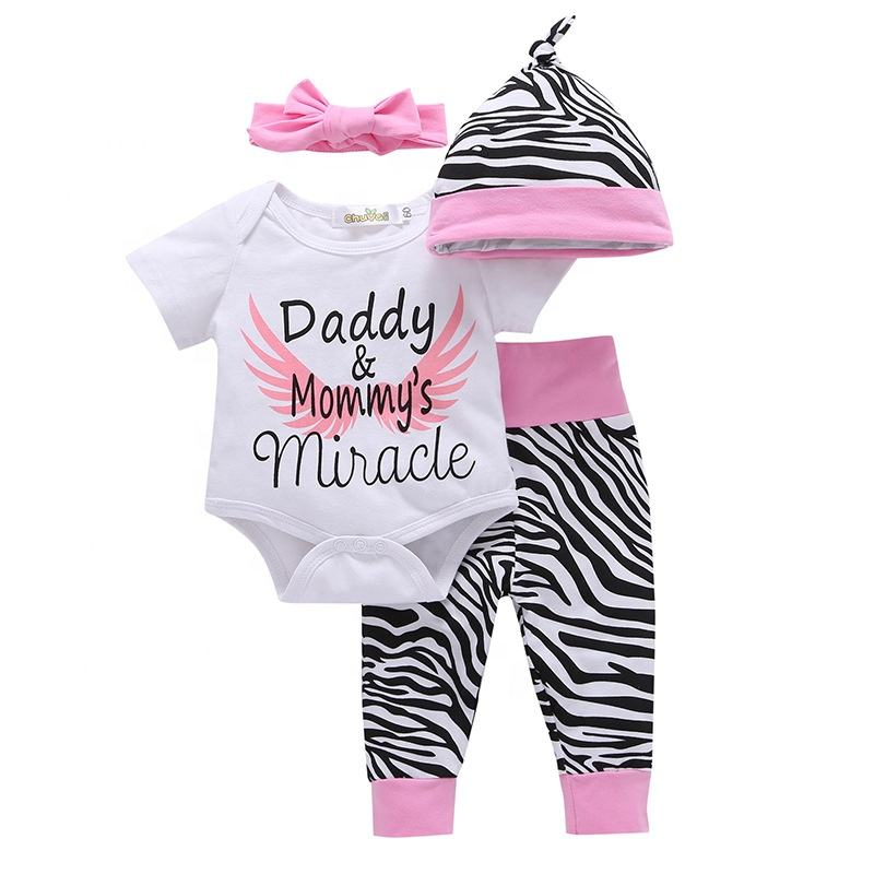 Newborn Infant Baby Boy Girl Clothes Long Sleeve Romper Top,Plaid Pants+ Cute Hat 4Pcs Clothes Outfits Set