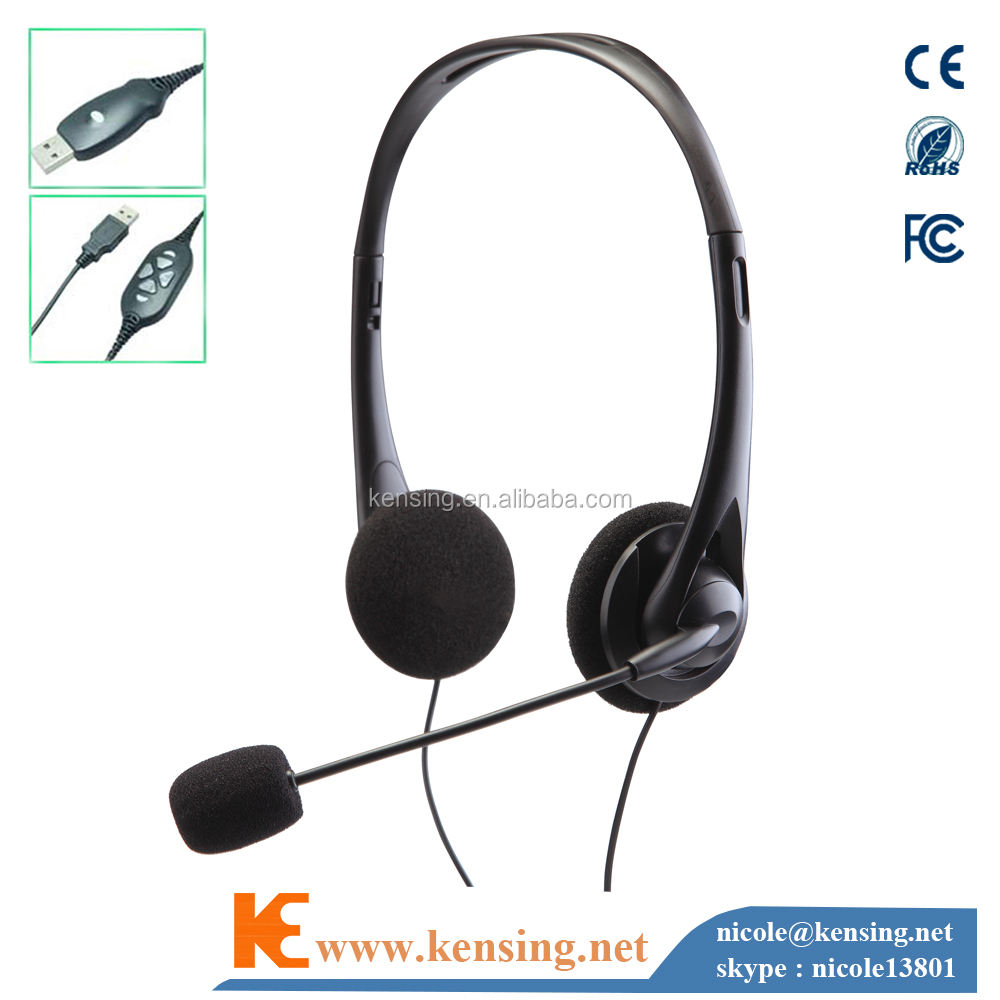 MHP-313-USB headset with USB connector for computer and call center