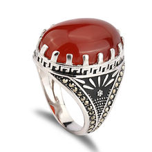 Fashion custom ruby casting single stone finger ring 925 silver yemen ring