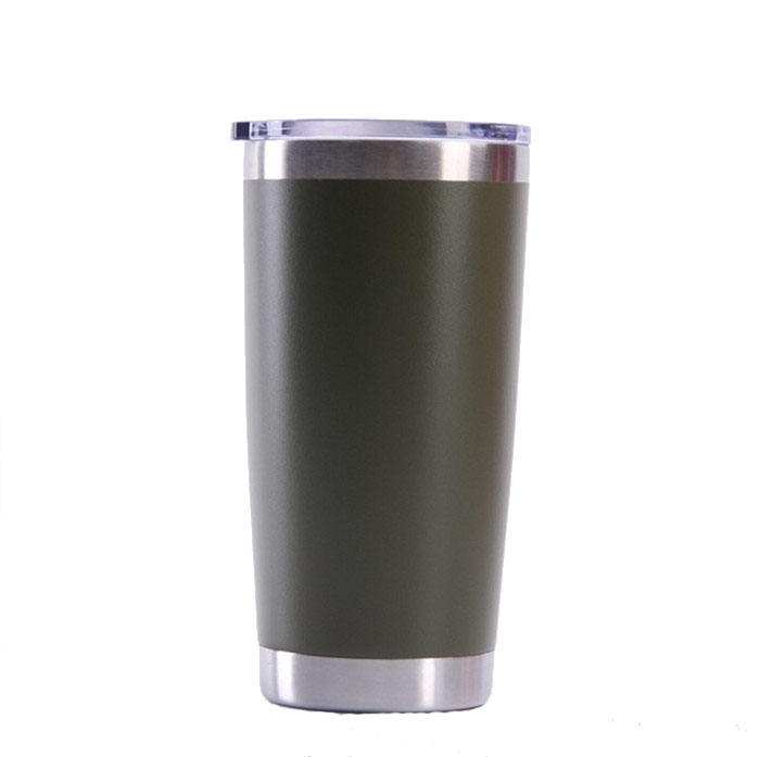 BPA Free Leaking Proof 20oz Black Powder Coated Insulated Tumbler Cups