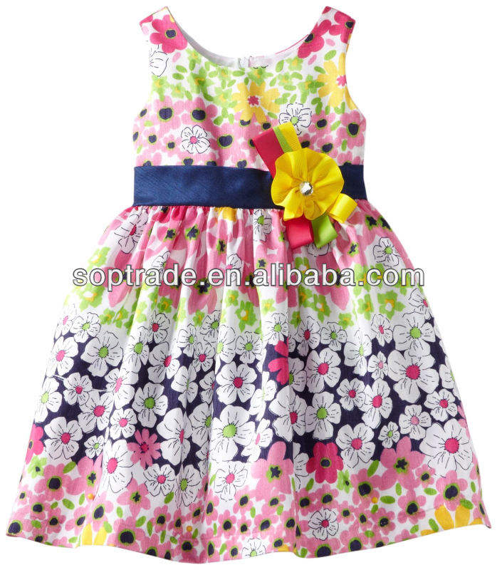 wholesale children new fashion colorful floral dresses for girls 10 years 2013 summer