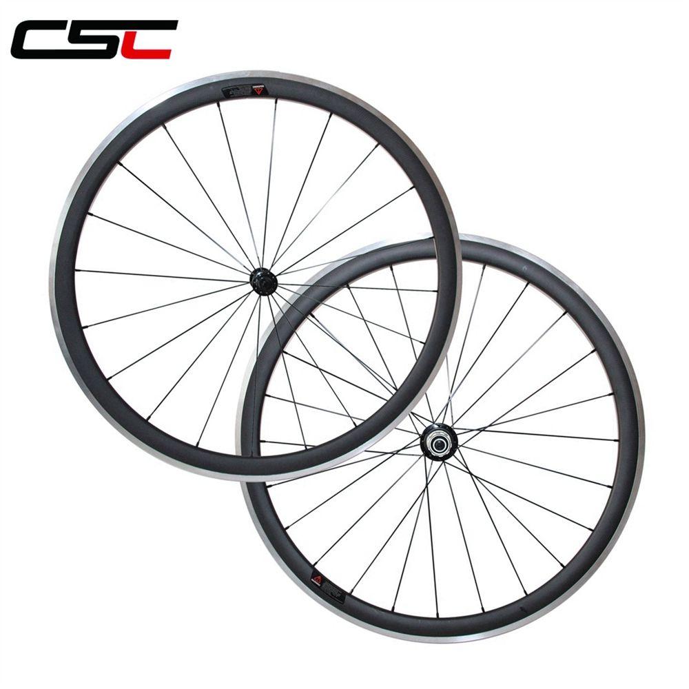 CSC 700C carbon wheelset 38//50//60//80mm clincher road bike alloy brake surface