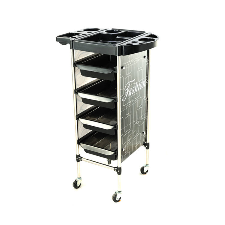 Wholesale hair Salon Furniture Lockable black Barber Trolley With Wheels