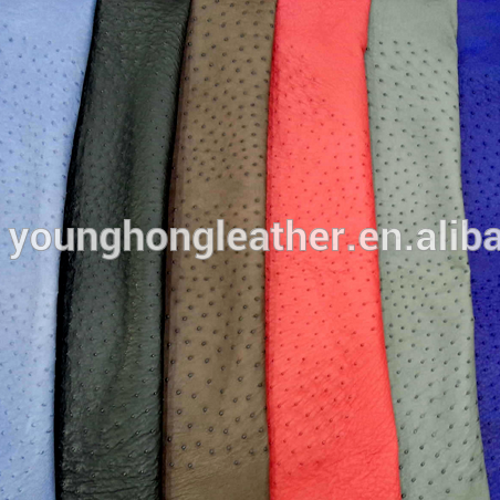 Colorful Finished genuine ostrich skin leather for handbags