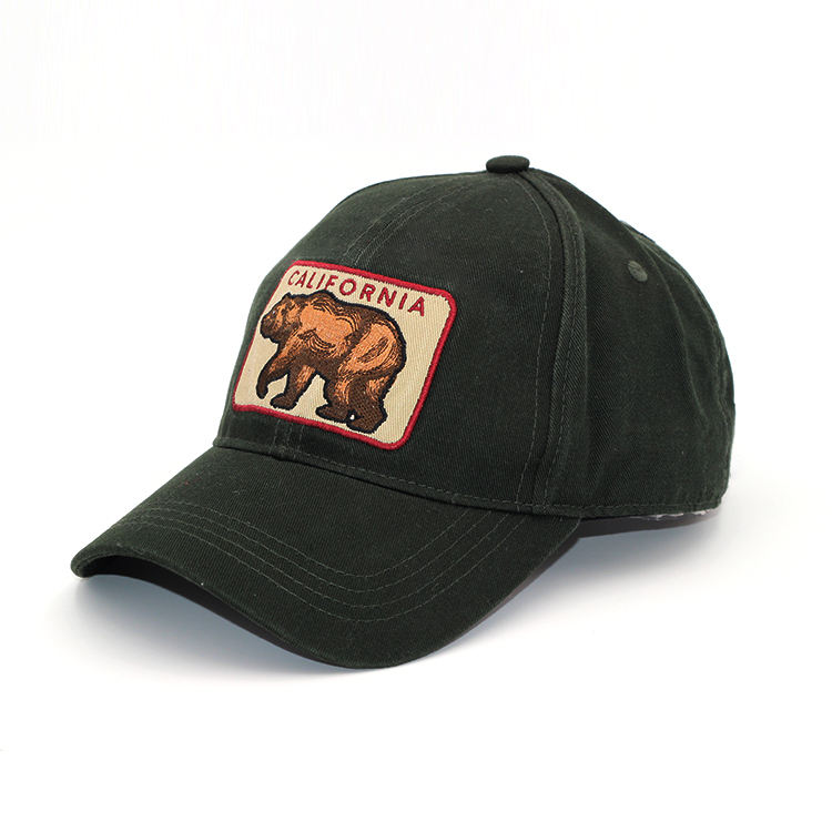 Embroidered Applique Bear Unconstructed Black Dad Hat