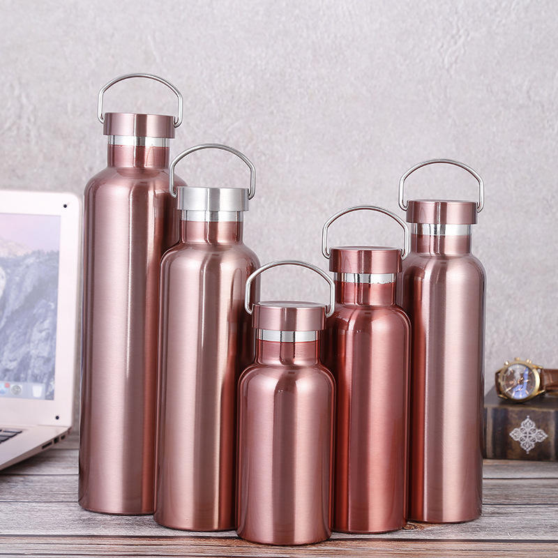 Custom Logo Coffee Milk Drinking Insulated Stainless Steel Water Bottle Rose Gold Vacuum Flask(500ML)
