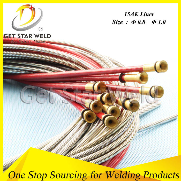 MIG MAG Stainless Steel Flexible Wire Feeding Tube Welding Consumables for Binzel 15AK Welding Torch 5.5m
