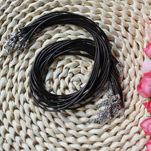 Adjustable PU Necklace Leather Cord Black Color 2mm diameter