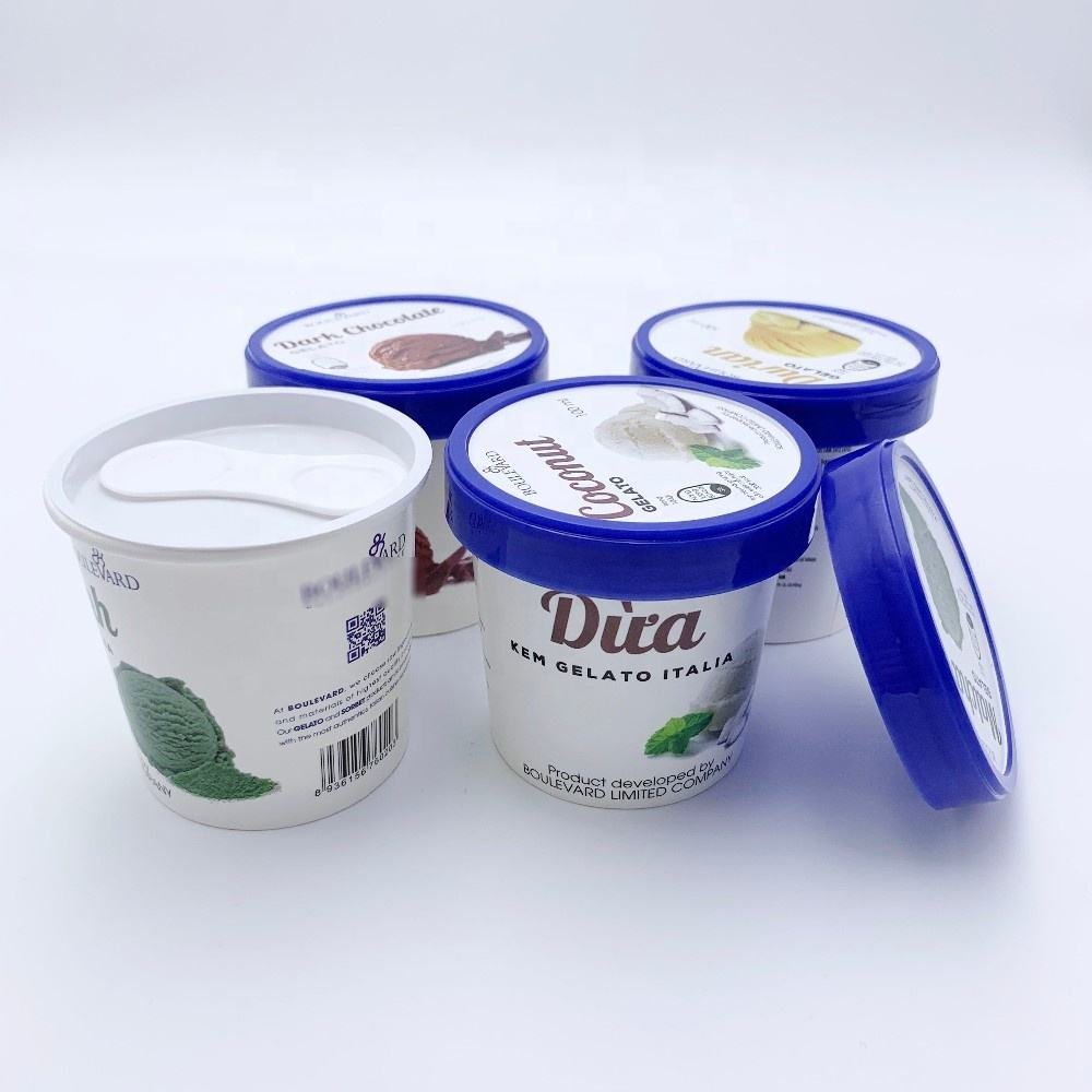 Disposable Double PE Custom Insulating Frozen Yogurt Ice Cream Paper Cups With Lid And Spoon