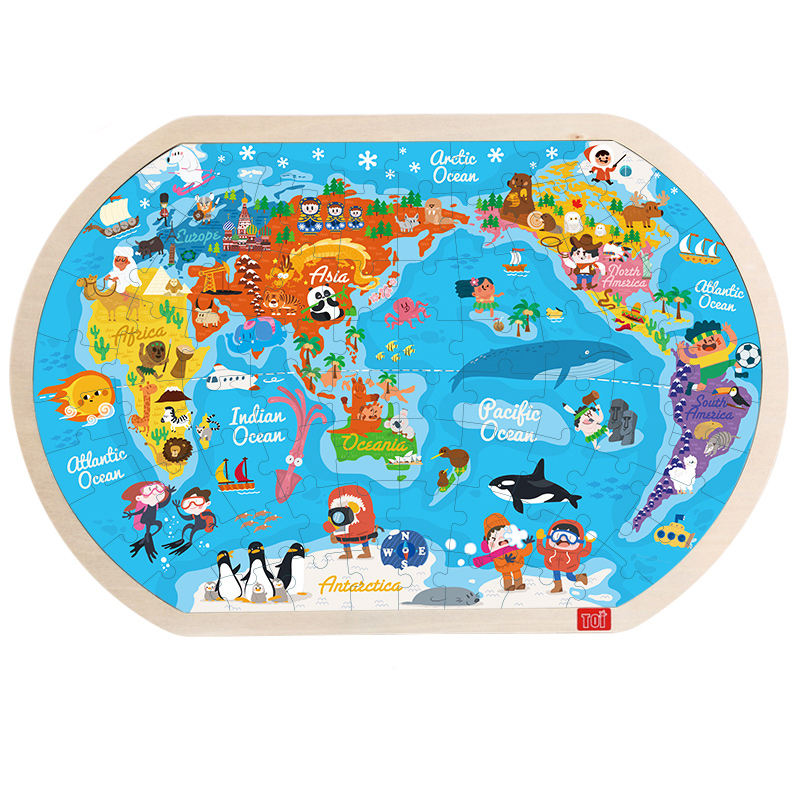 Toi Classic Puzzle 80Pcs World Map Educational Toy Interesting Wood Jigsaw Puzzles For Children