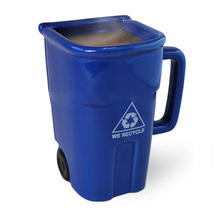 eco friendly  blue coffee mug novelty with ashbin shaped