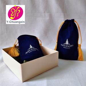 Hot selling eco-friendly velvet bags with tassel drawstring pouches jewelry bags