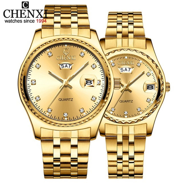 CHENXI 8204 A 2 Gold Watch Men Women Watches Top Brand Luxury Fashion Steel Strap Couple Casual Quartz Watch Relogio Masculino