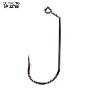 Eupheng EP-32786 Jig Hook 120 Degree Offset Eye Shank Pro Choice High Carbon Steel Fishing Hook Black Barbed Sizes 1/0# to 5/0#