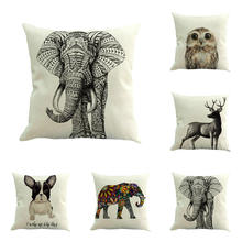 Animal Throw Pillow Covers Cute Baby Square Pillow Cases Cotton and Linen Couch Pillow Covers