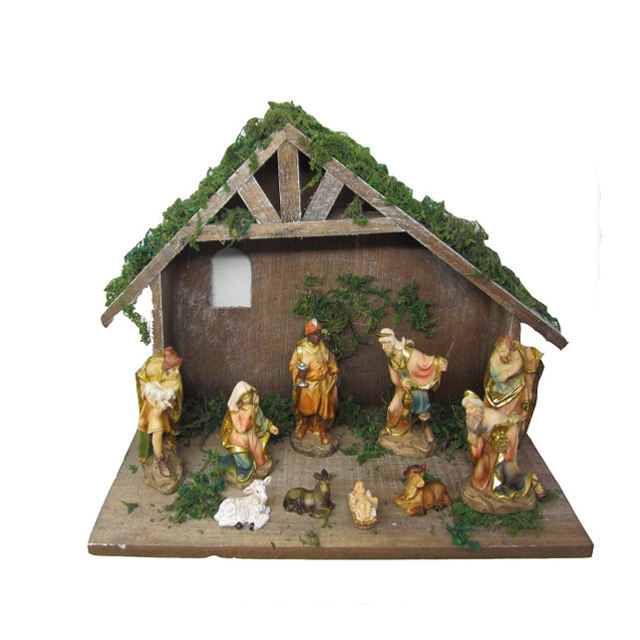handmade wooden stable nativity set for christmas decor