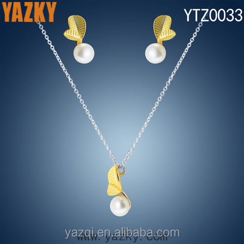 925 silver hot sale gold pearl rani haar jewelry set