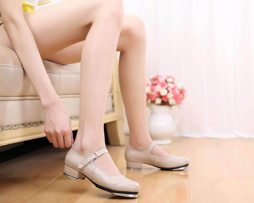 Wholesale Professional Genuine Leather Women Girls Nude Dance Shoe Tap