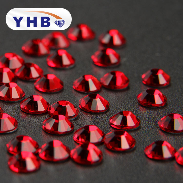 YHB Factory directly sale Siam Colors glass crystals hotfix rhinestone for garment embellishment