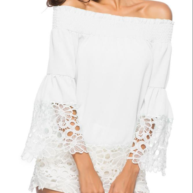 2019 Ecowalson Summer Lace Patchwork Off Shoulder Chiffon Unlined Upper Garment
