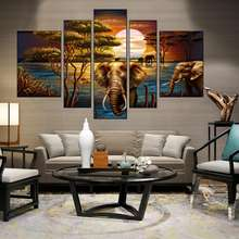 Abstract Elephant artwork painting 5 Piece Animal Wall Painting Home Decor
