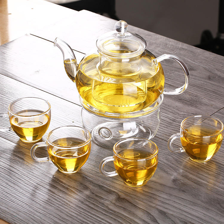 Glass tea set thick pot Kung Fu tea set with dish special gift flower tea set with handle