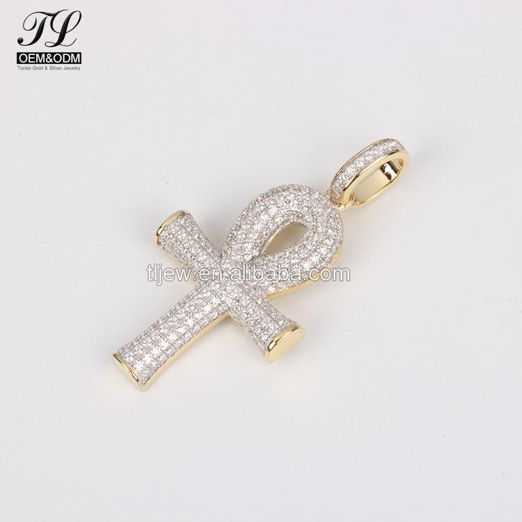 9 К 10 К 14 К 18 К золото или серебро АНК хип-хоп ювелирных изделий + Анкх кулон с камнями