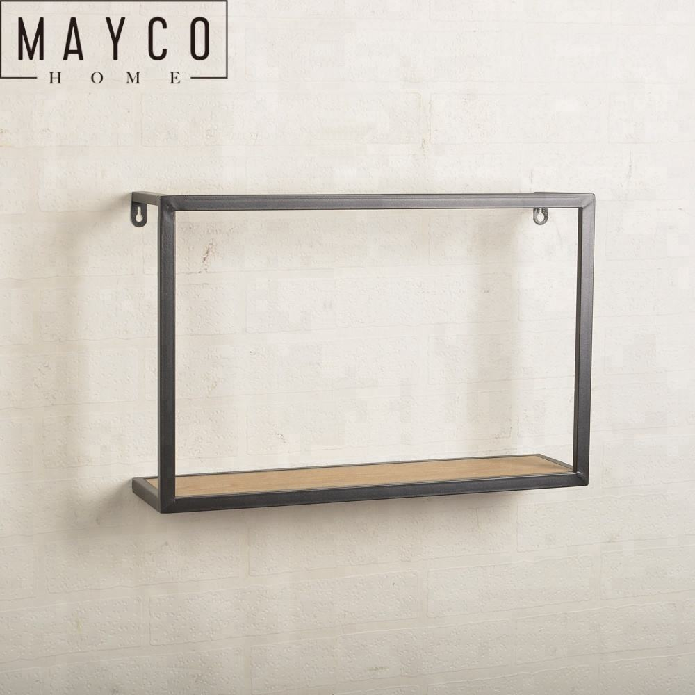 Mayco Modern Home Decoration Metal Wood Wall Shelf Living Room