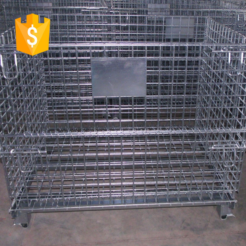 Foldable Collapsible Steel Metal Wire Mesh Storage Cage Pallet Containers