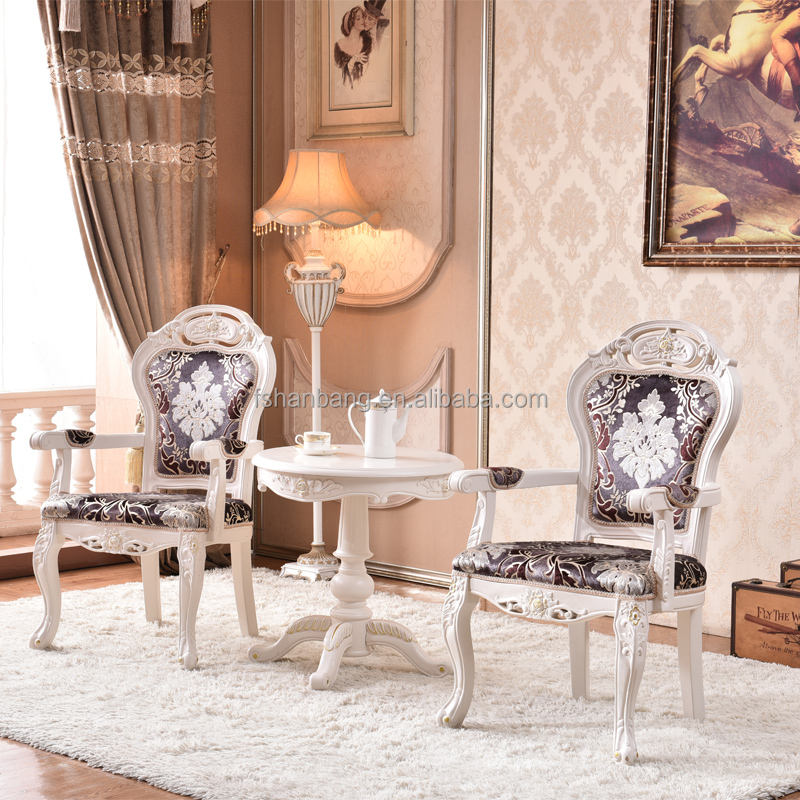 White Living Room Baroque Armchair For Sale
