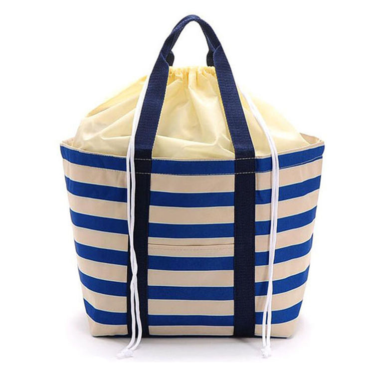 Factory free sample school children carry soft cotton cooler lunch bag with drawstring closer rope