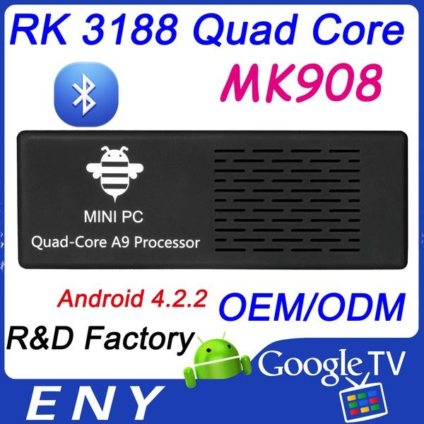Mk908 четырехъядерных процессоров rk3188 телевизор box1.8ghz 2gb/8gb bluetooth мини пк tv android приложения