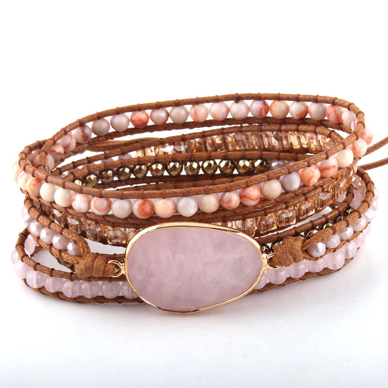 Fashion Beaded Jewelry Handmade Mixed Natural Stones/Crystal and Stone Charm 5 Strands Wrap Bracelets