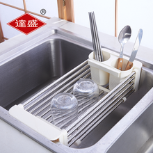 kitchen sink compact stainless steel chrome dish drainer with cutlery drainer
