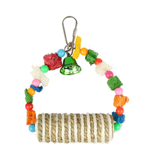 OEM  Luxury wholesale sisal roll and loofah bird chew toys with ring/parrot swing toys