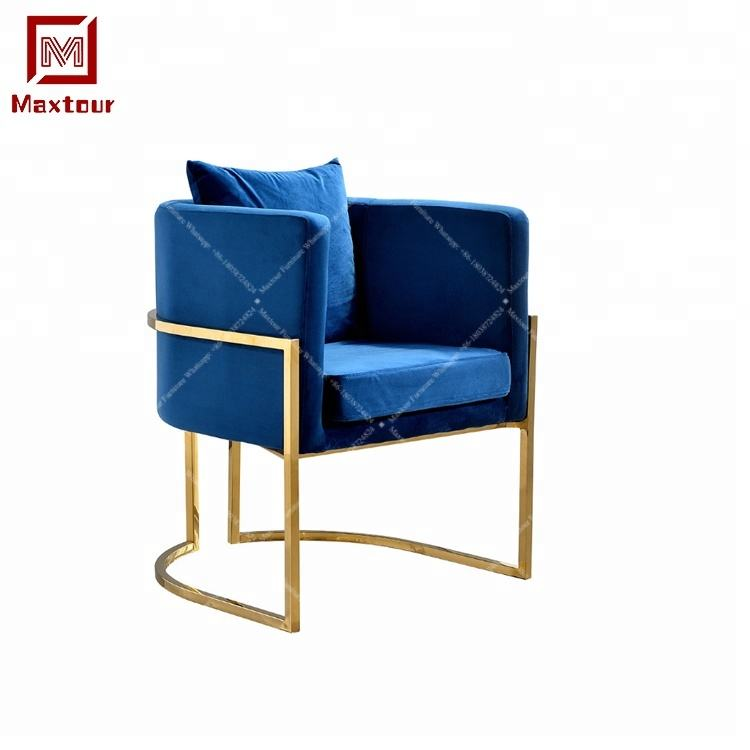 Hotel french accent stainless steel frame and velvet veneer sofa chairs