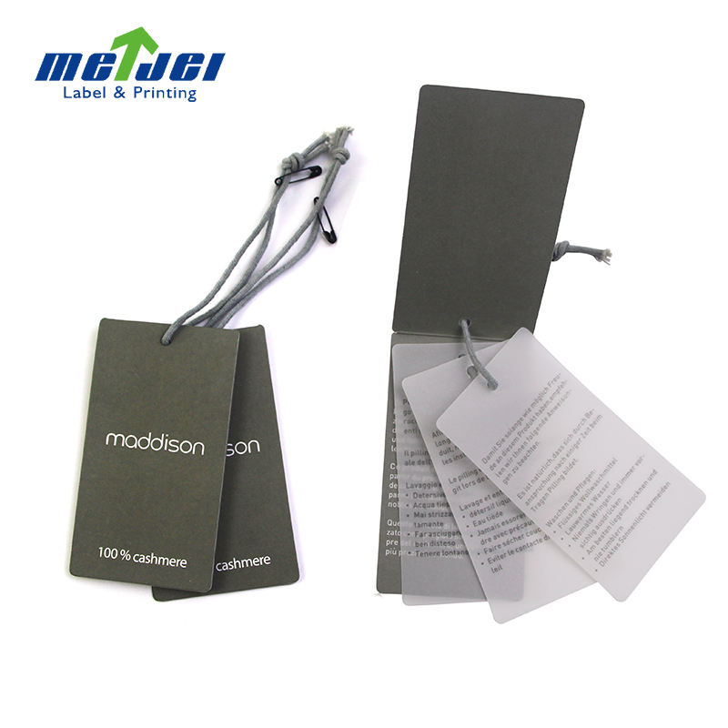 Retail garment swing tag clothing hang tag