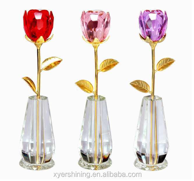 YI WU Shining Crystal rose flower stand with vase 230mm 240mm Valentines Day Gifts red rose flower with golden leaf