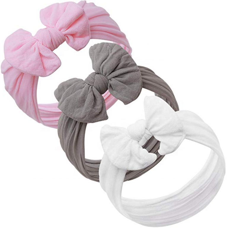 New baby girl head wrap nylon baby bow headband