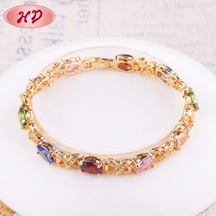 2018 China Alibaba Ruby Zircon 18K Gold Jewel Bracelet Women
