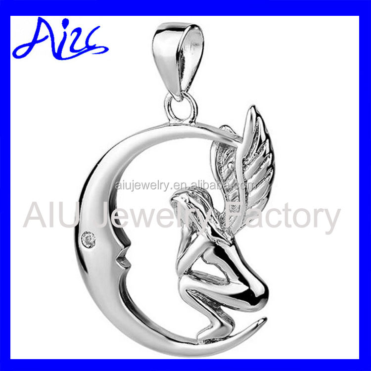 Platinum plated sterling silver pendant pensive Angel on the Moon