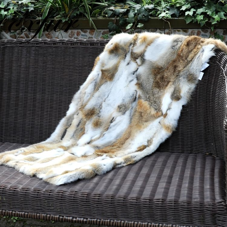 Fashionable Fur Pelt Pelt Rabbit Fur Blanket CX-D-18D Fashion Design Natural Color Fur Pelt Plate Real Rabbit Skin Plates Cheap Wholesale Throw Blanket