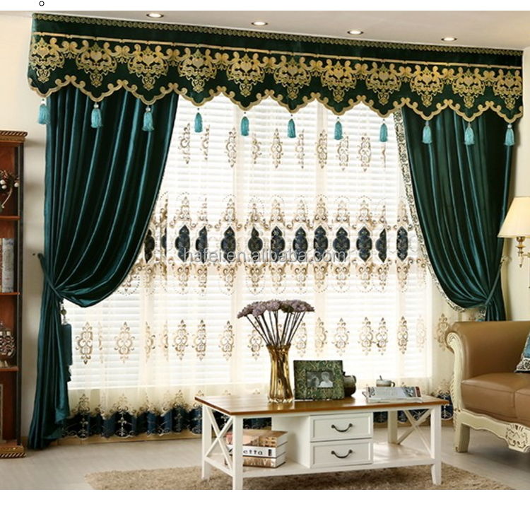 Europe luxury fashion jacquard drapes curtain set with valance