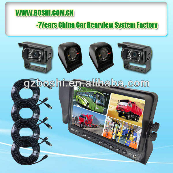 Super Quad Video Monitoring System with 4CH Monitor and Rear&side View Camera