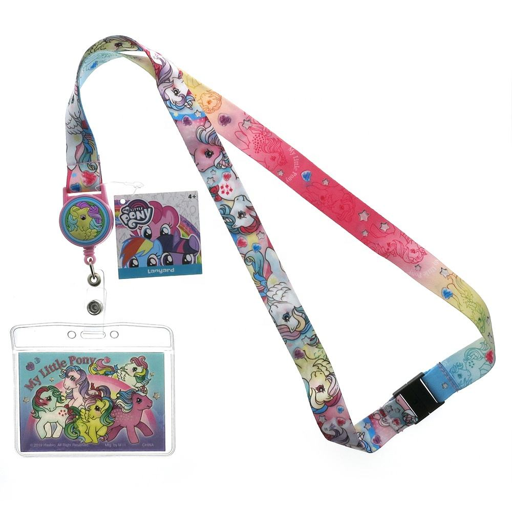 PROMOTION CUTE PVC POLYESTER ZINC ALLOY OFFICE RETRACTOR LANYARD FOR MY LITTLE PONY