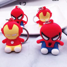 Marvel Suoerhero Pvc Keying 3D  Iron Man Spiderman Keychain